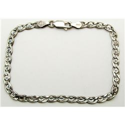 "7 INCH ITALY STERLING BRACELET MARKED 925 ""AG"""