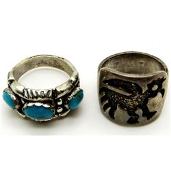 2-NAVAJO STERLING RINGS (1)WITH TURQUOISE