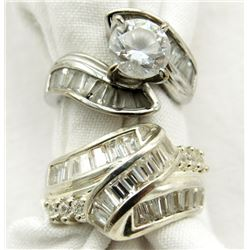 TWO STERLING RINGS SIZES 5-6