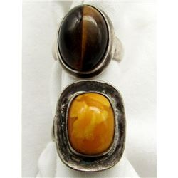TWO STERLING RINGS WITH LARGE STONES