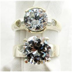 2 STERLING RINGS LARGE IMITATION DIAMONDS