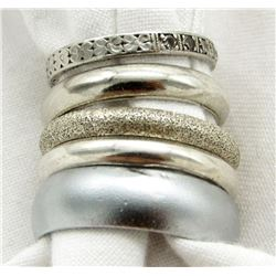 LOT OF 5 STERLING BAND - TYPE RINGS