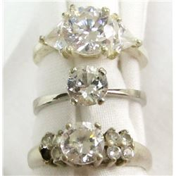 3 STERLING DIAMOND IMITATION RINGS
