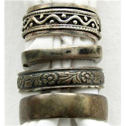 LOT OF 4  BAND TYPE STERLING RINGS