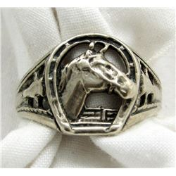 STERLING HORSE RING WITH HORSESHOW SHAPE