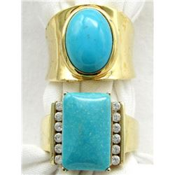 2 RINGS WITH TURQUOISE COLORED STONES