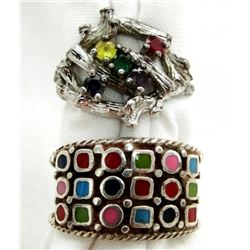 2 SILVER RINGS WITH MULTIPLE COLORED STONES