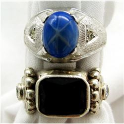 2 STERLILNG RINGS WITH BLUE STONES
