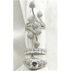 3 - DIAMOND IMITATION STERLING RINGS!!!