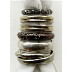 LOT OF 5 STERLING RINGS BAND- TYPE