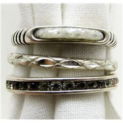 3 STERLING SILVER RINGS SIZES 6-7