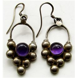 STERLING SILVER EARRINGS WITH PURPLE GEMS