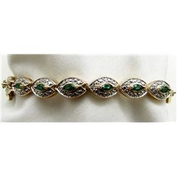 "7"" BRACELET WITH GREEN GEMS AND"