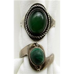 2 STERLING RINGS WITH GREEN STONES