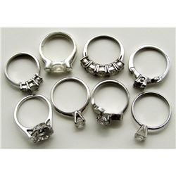 LOT OF 8 STERLING SILVER RINGS ALL WITH