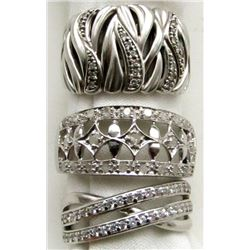 3 STERLING RINGS  IMITATION DIAMONDS!