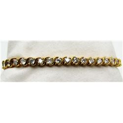 BEAUTIFUL 7 INCH STERLING BRACELET WITH CZ