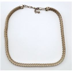 "THICK WOVEN STERLING NECKLACE MARKED ""GC"""