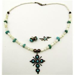 STERLING LOT: (1)NECKLACE WITH TURQUOISE AND
