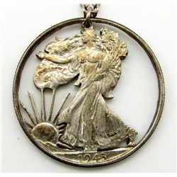 STERLING CHAIN WITH 1943 WALKING LIBERTY