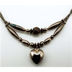 NAVAJO STERLING NECKLACE WITH STERLING BEAD
