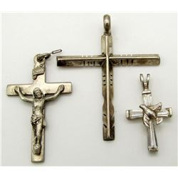 3-ANTIQUE STERLING CROSS PENDANTS