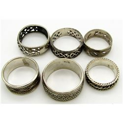 6-STERLING RINGS WITH ENGRAVED DETAILS