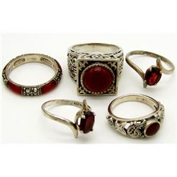 5-BLING RINGS WITH DEEP RED STONE ACCENTS