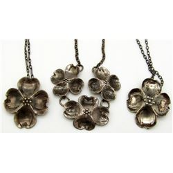 3-STERLING NECKLACES WITH MATCHING FLOWER