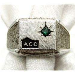 ACO STERLING MENS RING WITH LIGHT BLUE STONE