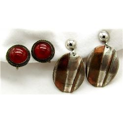 2-ANTIQUE STERLING EARRINGS (1)WITH DEEP RED