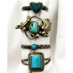 4-ANTIQUE NAVJO STERLING RINGS WITH TURQUOISE