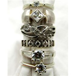 6-STERLING BLING RINGS WITH CLEAR STONE ACCENT