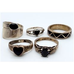 5-STERLING RINGS WITH BLACK ONYX STONE ACCENTS