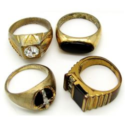 4-ANTIQUE MENS RINGS WITH BLACK ONYX &