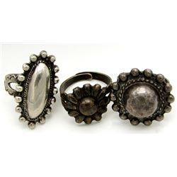 3-ANTIQUE STERLING RINGS WITH FLOWER DETAILS