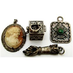 4-ANTIQUE STERLING PENDANTS MARKED!