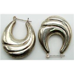 LARGE STERLING HOOP EARRINGS