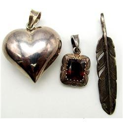3-STERLING PENDANTS (1)FEATHER, (1)HEART,