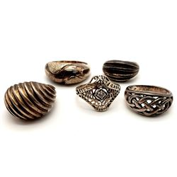 5-STERLING RINGS WITH DIFFERENT ENGRAVED