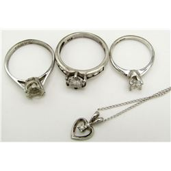 3-STERLING RINGS WITH CZ & (1)NECKLACE W/
