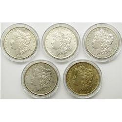 FIVE DECADE SET OF UNC MORGAN DOLLARS