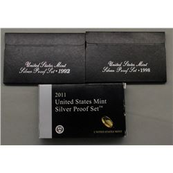 3 U.S. SILVER PROOF SETS MIX YEARS