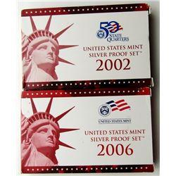 2002 & 2006 U.S. MINT SILVER PROOF SETS