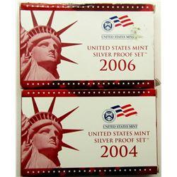 2004 & 2006 U.S. MINT SILVER PROOF SET
