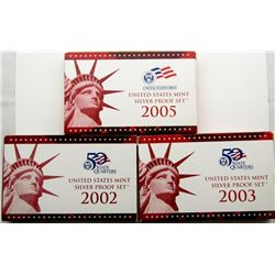 2002, 2003 & 2005 U.S. MINT SILVER PROOF SETS