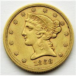 1868-S $5 GOLD LIBERTY EAGLE