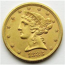 1883 $5 GOLD LIBERTY HALF EAGLE