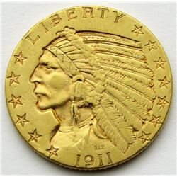 1911 $5 INDIAN GOLD FIVE DOLLARS