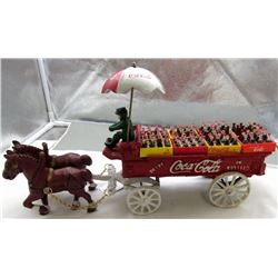 Vintage Coca Cola Cast Iron Horse Dawn Delivery